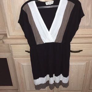 brown black and white dress